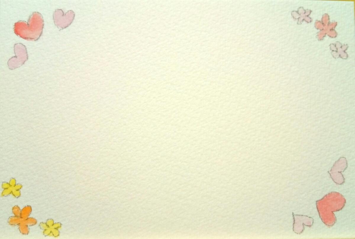手描き オリジナル 柄入り ポストカード 5枚セット 原画 水彩画用 ハガキ 水彩イラスト 花 桜 ガーベラ バラ ハート 星 流れ星_画像4