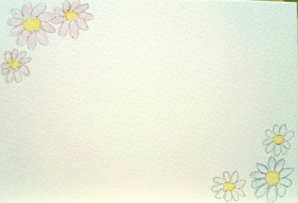 手描き オリジナル 柄入り ポストカード 5枚セット 原画 水彩画用 ハガキ 水彩イラスト 花 桜 ガーベラ バラ ハート 星 流れ星_画像2