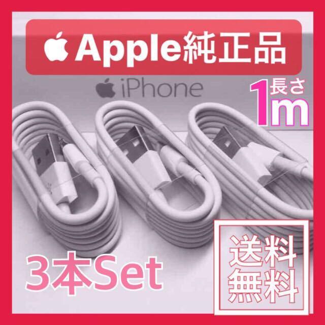 【送料無料】純正 ライトニングケーブル 1m×3本セット Apple MFI認証済み iphone5 iphone6 iphone7 iphone8 iphone X