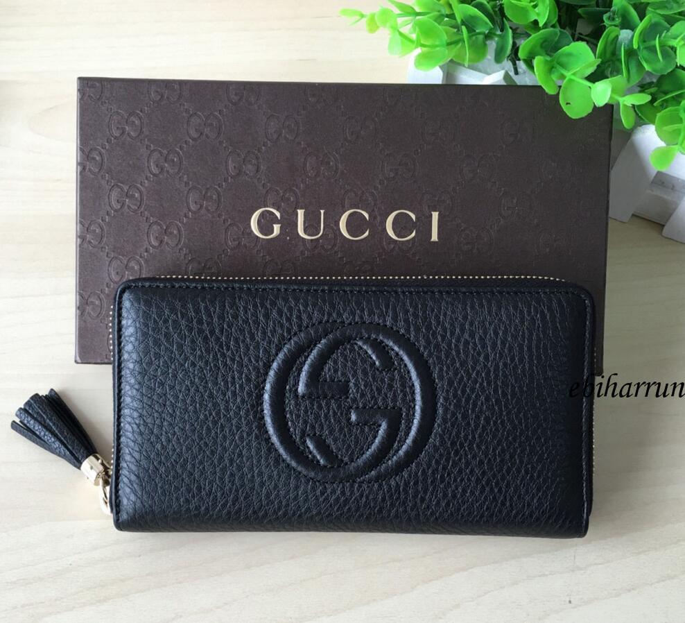 on sale f30f6 4e3fc Gucci GUCCI男士女士GG黑色長款錢包圓形緊固件原文:グッチGUCCI ...