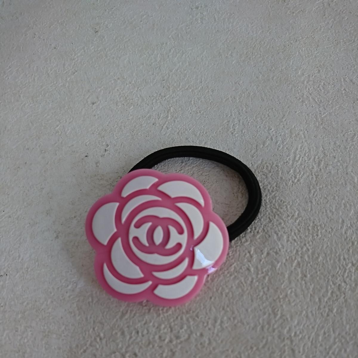 bb8f25051df7 CHANEL シャネル ココマーク 花 フラワーモチーフ ピンク ヘアゴム ヘアアクセサリー ノ
