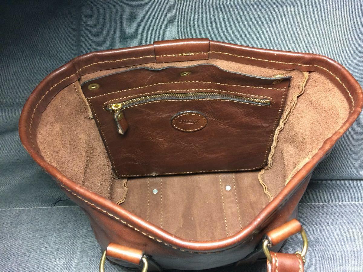 美品 HERZヘルツ バケツ型トートバッグ(T-70-S-CH)旅行鞄 ハンドバッグ ツールバッグ レザー 革 茶色(チョコ) 通学鞄 学生鞄 カバン 日本製_画像3