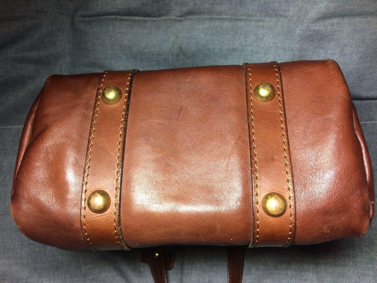 美品 HERZヘルツ バケツ型トートバッグ(T-70-S-CH)旅行鞄 ハンドバッグ ツールバッグ レザー 革 茶色(チョコ) 通学鞄 学生鞄 カバン 日本製_画像4