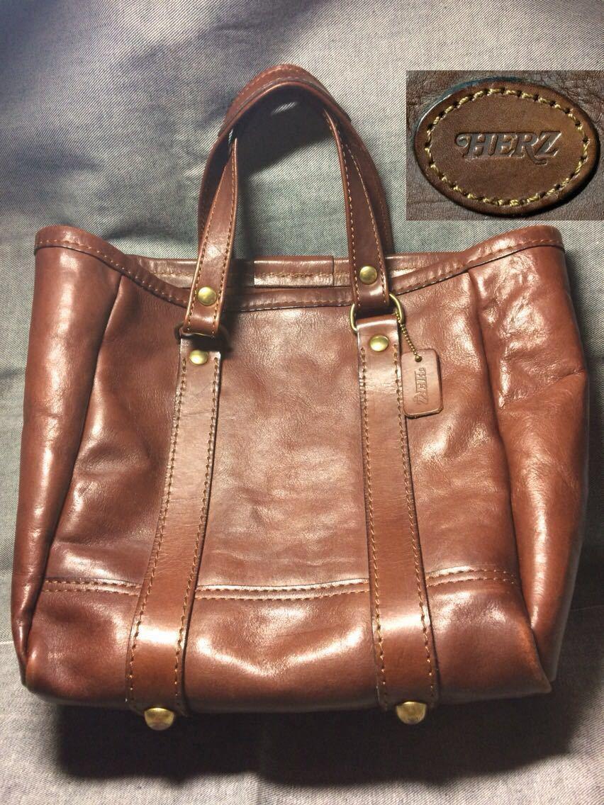 美品 HERZヘルツ バケツ型トートバッグ(T-70-S-CH)旅行鞄 ハンドバッグ ツールバッグ レザー 革 茶色(チョコ) 通学鞄 学生鞄 カバン 日本製