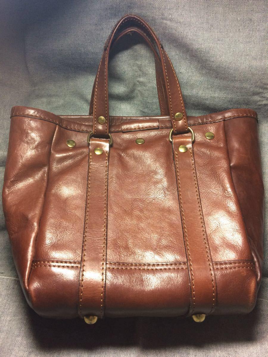 美品 HERZヘルツ バケツ型トートバッグ(T-70-S-CH)旅行鞄 ハンドバッグ ツールバッグ レザー 革 茶色(チョコ) 通学鞄 学生鞄 カバン 日本製_画像2