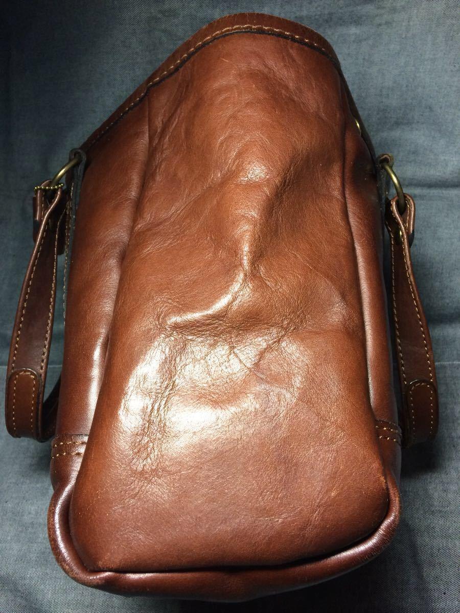 美品 HERZヘルツ バケツ型トートバッグ(T-70-S-CH)旅行鞄 ハンドバッグ ツールバッグ レザー 革 茶色(チョコ) 通学鞄 学生鞄 カバン 日本製_画像6
