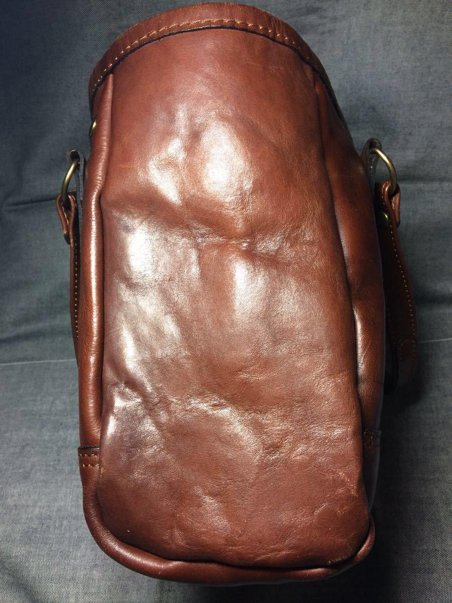 美品 HERZヘルツ バケツ型トートバッグ(T-70-S-CH)旅行鞄 ハンドバッグ ツールバッグ レザー 革 茶色(チョコ) 通学鞄 学生鞄 カバン 日本製_画像5