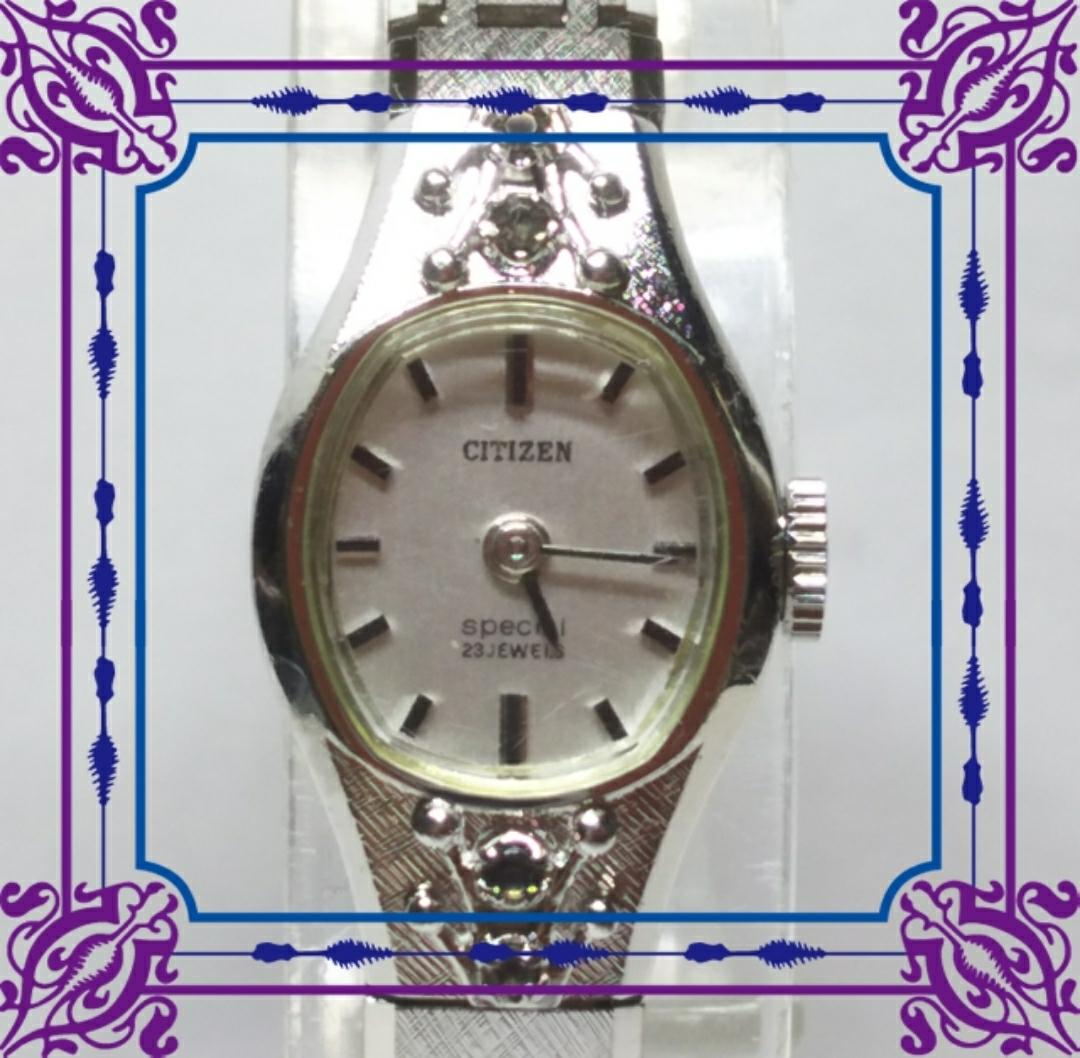 古董市民女士手動上鍊機械表CITIZEN特價4-673247 WGP 21石材工作品 編號:w249574597