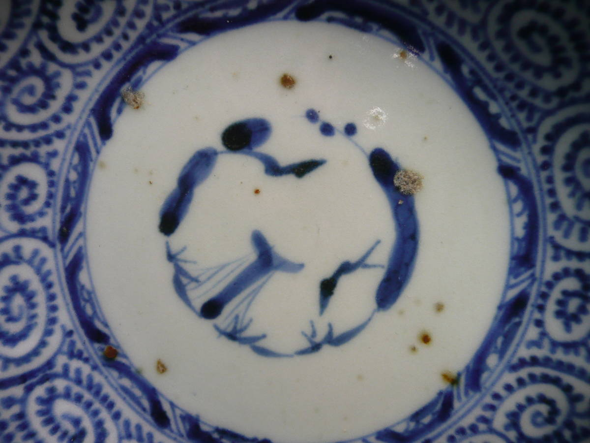 ◆送料込み即決1530◆江戸期 古伊万里染付 蛸唐草 松竹梅紋様 なます皿2客 膾皿 骨董民芸古美術昔の古い器年代物時代物和皿お皿◆_画像5