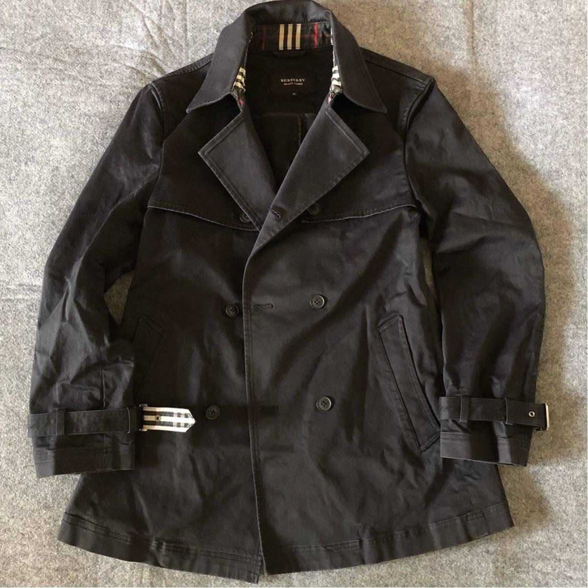 bbf282f7b68c66 美品 バーバリーブラックレーベル 春秋最適 Pコート ブラック サイズM BURBERRY BLACK LA