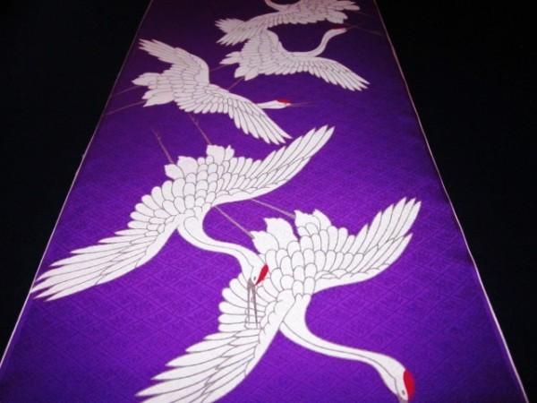 【京わぎれ】正絹 長襦袢はぎれ 飛び鶴柄 紫色地 菱地紋生地 替え袖用2.2m③_画像1