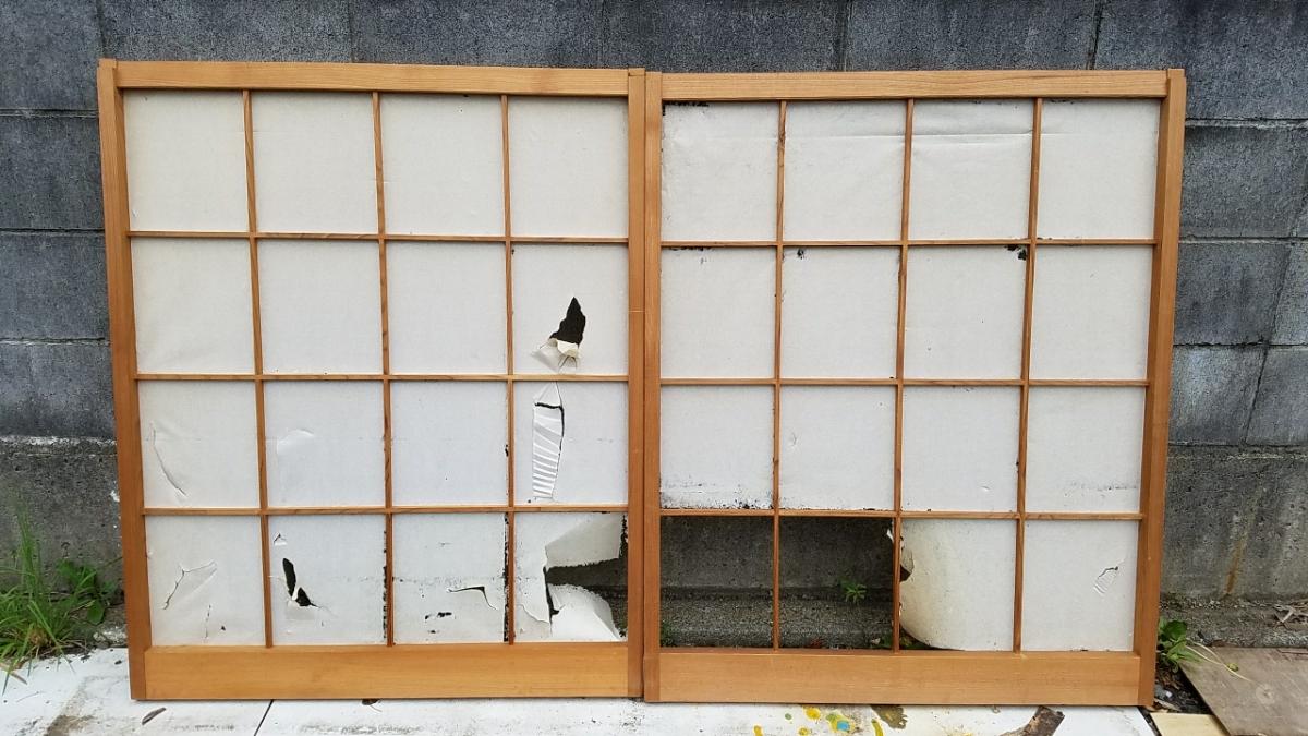 used / tree frame shoji sliding door 2 sheets set / length 106.5cm ...