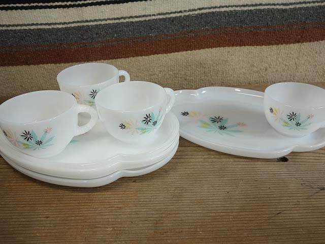 フェデラル パティオ スナックセット 4客set 152 美品 ミルクガラス ビンテージ