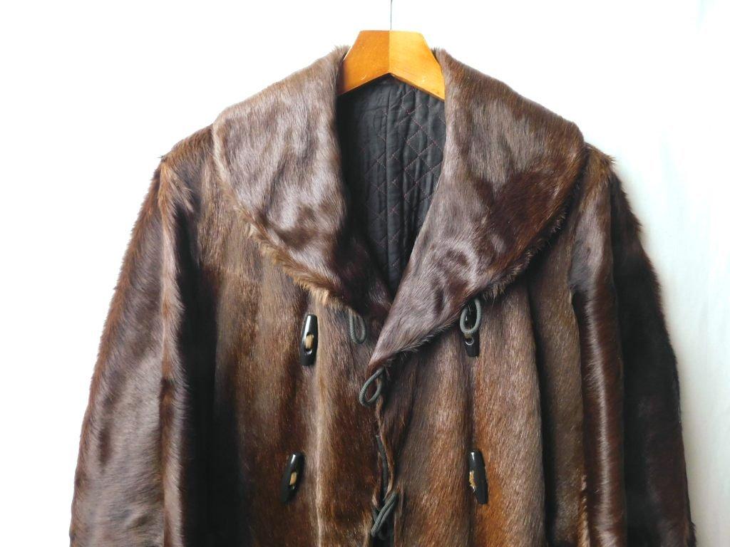 10s20s30s ビンテージ ダブルブレスト コート ショールカラー ホースヘアー 馬ジャン 革 レザー