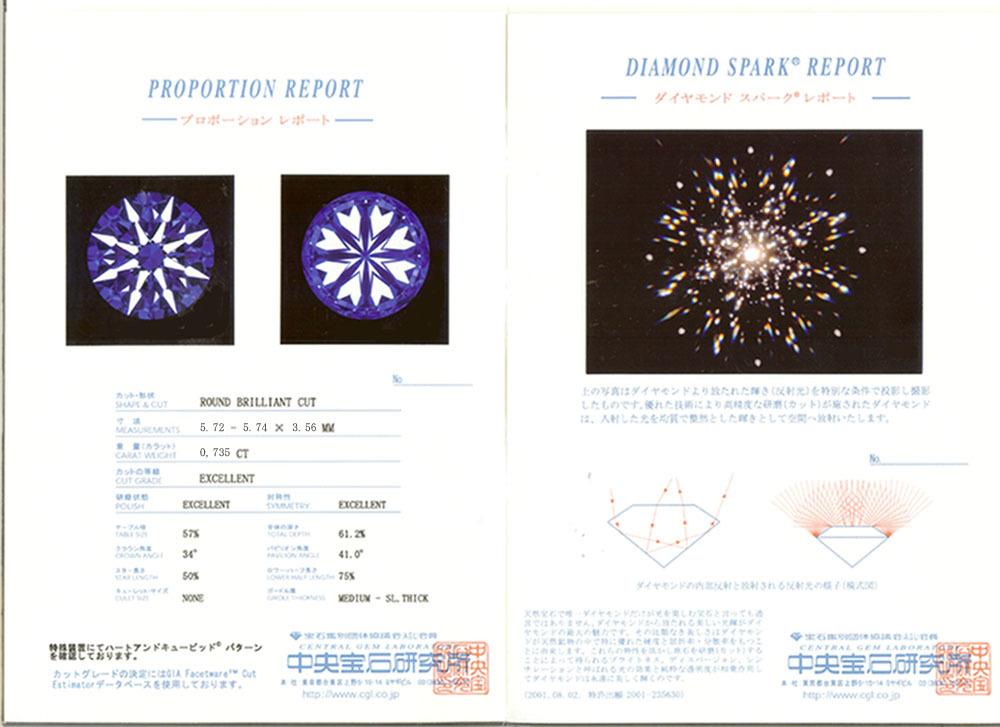 中宝 0.735ct D VVS1 3EX H&C DS鑑定書