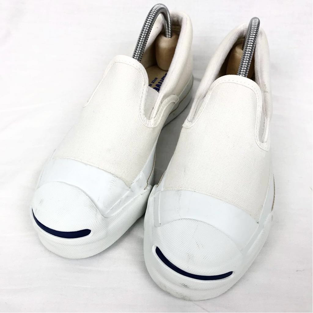 ab87bee48219 new goods unused dead stock ultra rare 90s USA made Converse Jack purcell  slip-on shoes white US4 23cm Vintage canvas shoes rare size