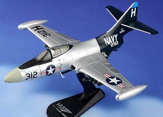 1953 Hobby Master Ha7208 Grumman F9f-5 Panther Vf-153 Blue Tail Flies H312