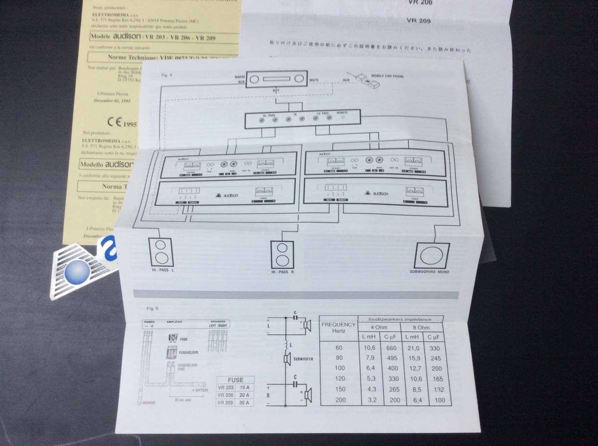 当時物 希少 絶版品 audison オーディソン VR209 赤 限定モデル 元箱 ステッカー オーナーズマニュアル 取扱説明書 本体無し アンプ無し_画像9