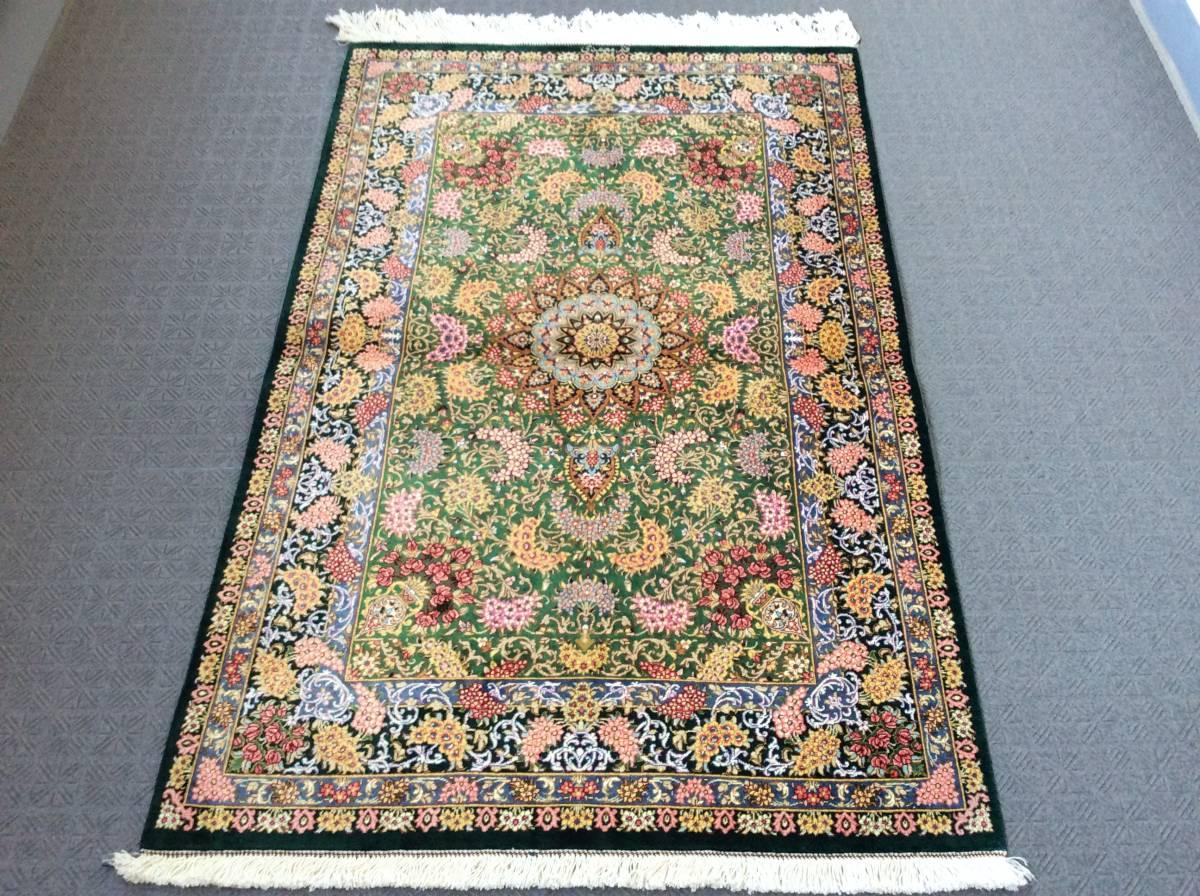 一枚はコレクションにしたいお薦め作品◆ペルシャ絨毯 クム産シルク100% 120×77㎝、家の家宝にお薦めです。