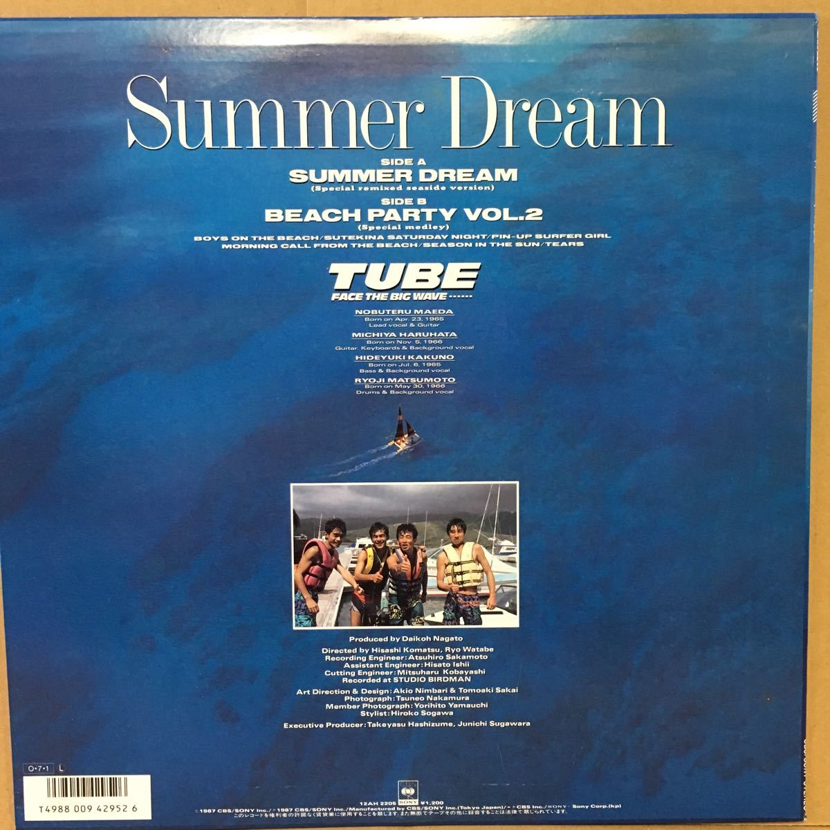 超美盤 12' チューブ TUBE / SUMMER DREAM ( Special Remixed Seaside Version )_画像2