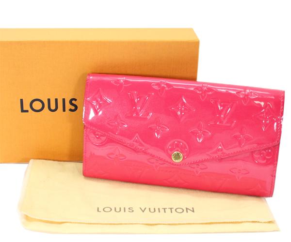 428dc8cad052 新品同様 極美品 LOUIS VUITTON ルイヴィトン モノグラム・ヴェルニ ポルトフォイユ・サラ ピンク 2つ折り長財布 M90313 プレゼント