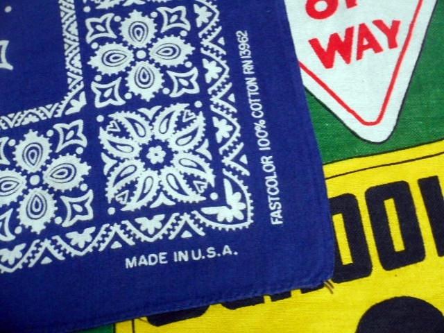 ★珍しいプリントパターンが◎な1枚★Made in USA製アメリカ製FAST COLORファーストカラービンテージコットンバンダナ60s60年代ネイビー紺_画像2