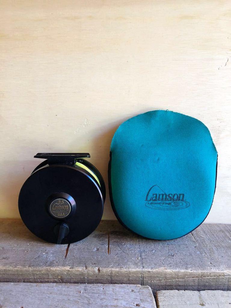 フライリール Lamson 3.5 ラムソン USA ソフトケース付き フライフィッシング 釣り具 中古_画像1