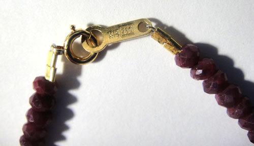 268-1883F13_07 K18 金 GOLD ゴールド 750 天然 本物 ルビー ブレスレット キラキラ 18cm 5g_画像5