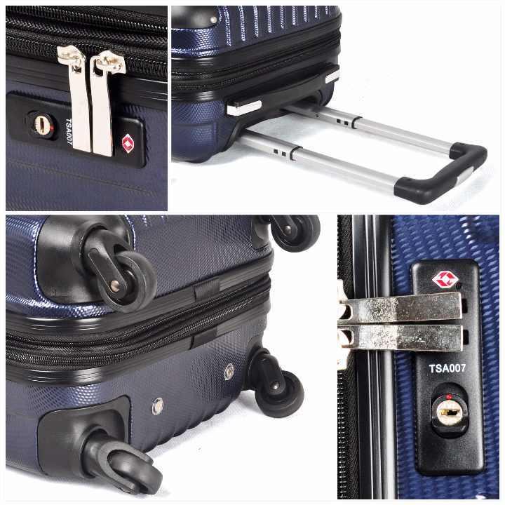 大型軽量スーツケース キャリーバッグ TSAロック付き Lサイズ 黒_画像4