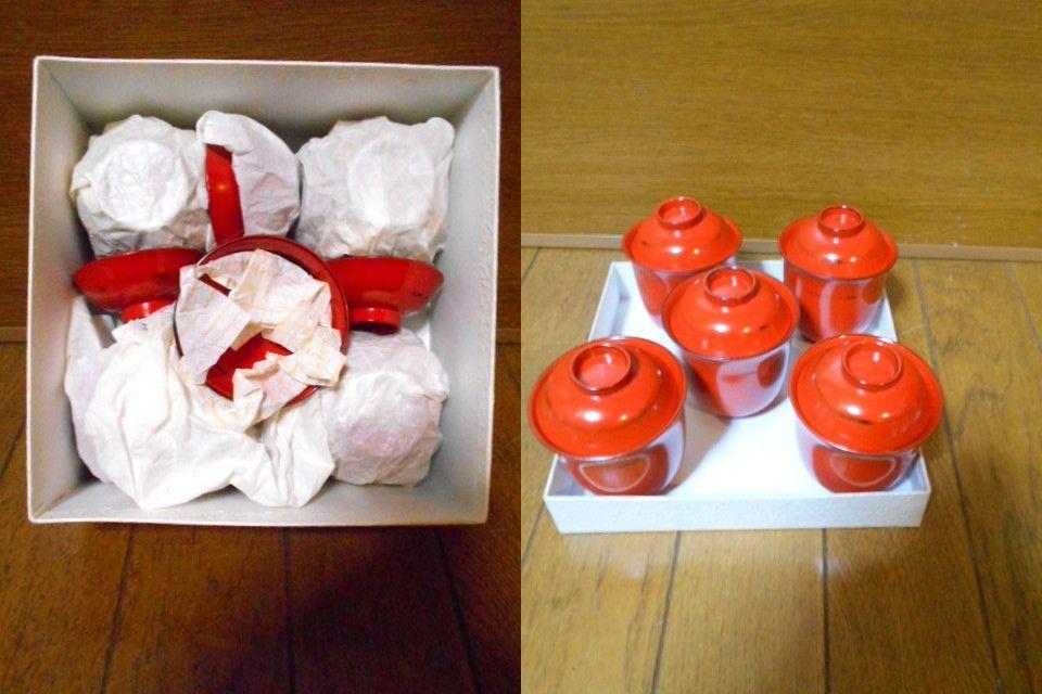 漆器 根来塗 木製 小吸物碗 蓋付 5客 美品 紙箱 180313_画像4