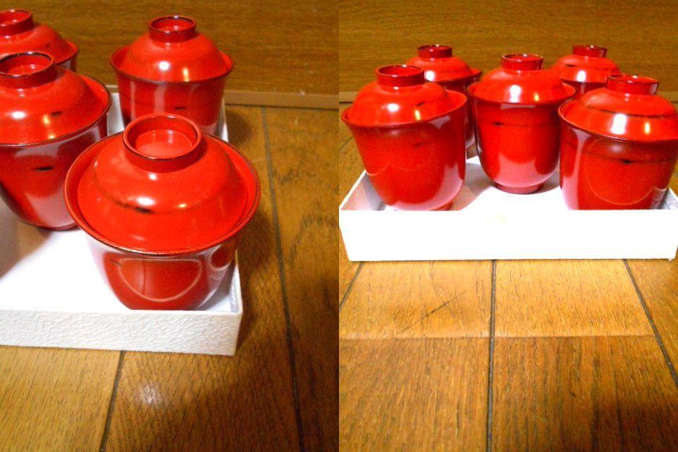 漆器 根来塗 木製 小吸物碗 蓋付 5客 美品 紙箱 180313_画像5