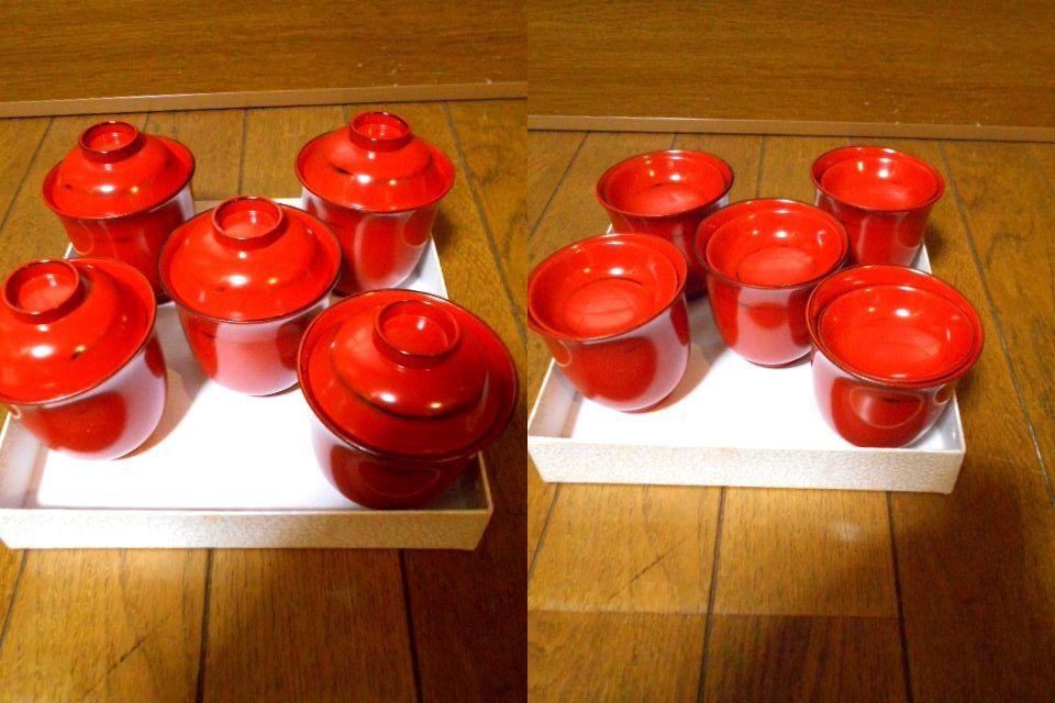 漆器 根来塗 木製 小吸物碗 蓋付 5客 美品 紙箱 180313_画像6