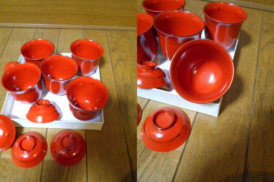 漆器 根来塗 木製 小吸物碗 蓋付 5客 美品 紙箱 180313_画像7
