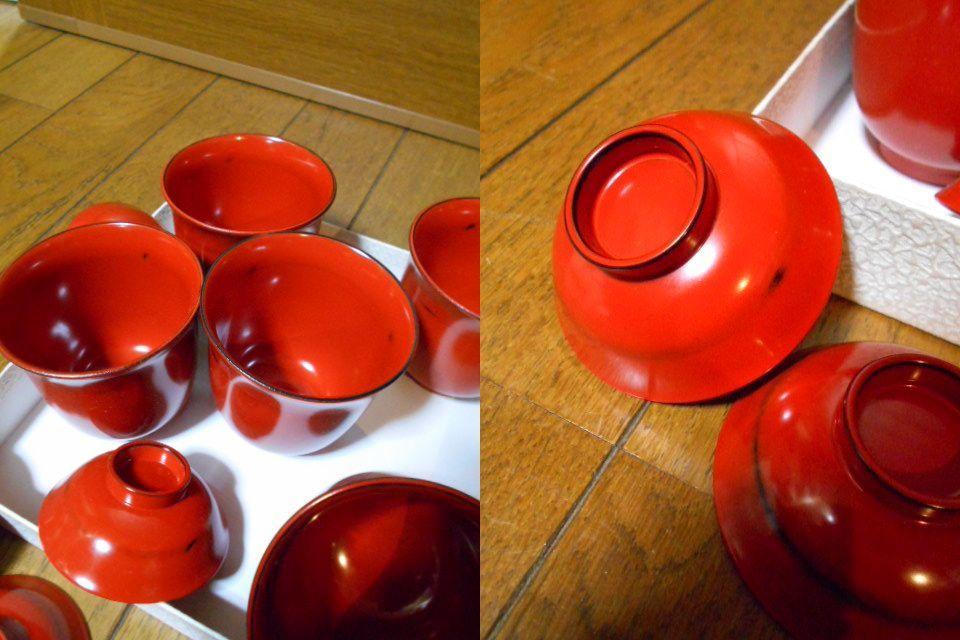 漆器 根来塗 木製 小吸物碗 蓋付 5客 美品 紙箱 180313_画像8