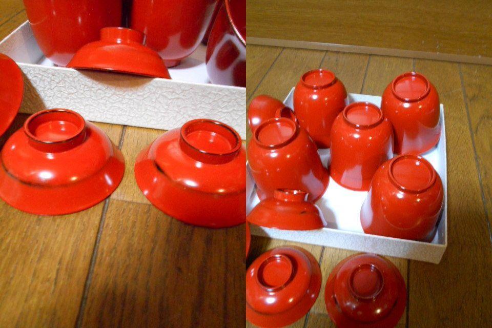 漆器 根来塗 木製 小吸物碗 蓋付 5客 美品 紙箱 180313_画像9