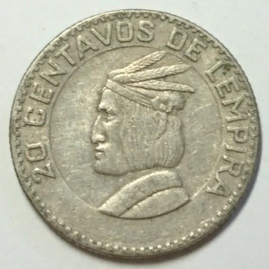 【ホンジュラス】20センタボ硬貨 1967年 約18mm (3)_画像1