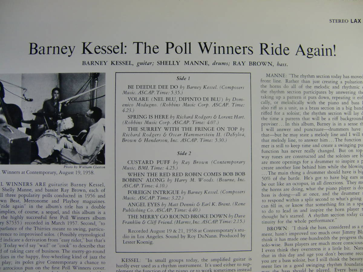 BARNEY KESSEL with SHELLY MAN and RAY BROWN   /   The Poll Winners Ride Agein!_画像3