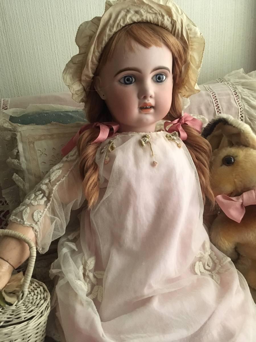 JUMEAU 1907 オープンマウス80㎝大きなお人形★ブルーグレーの美しい瞳。利発なお顔の稀に見る魅力的な美しい子です。_画像2