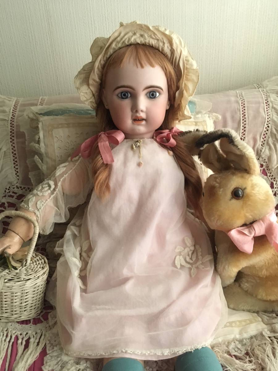 JUMEAU 1907 オープンマウス80㎝大きなお人形★ブルーグレーの美しい瞳。利発なお顔の稀に見る魅力的な美しい子です。_画像5