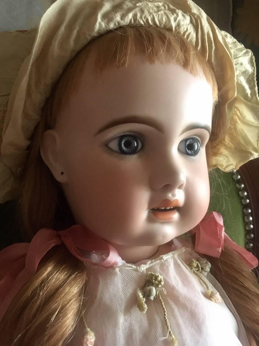 JUMEAU 1907 オープンマウス80㎝大きなお人形★ブルーグレーの美しい瞳。利発なお顔の稀に見る魅力的な美しい子です。_画像4