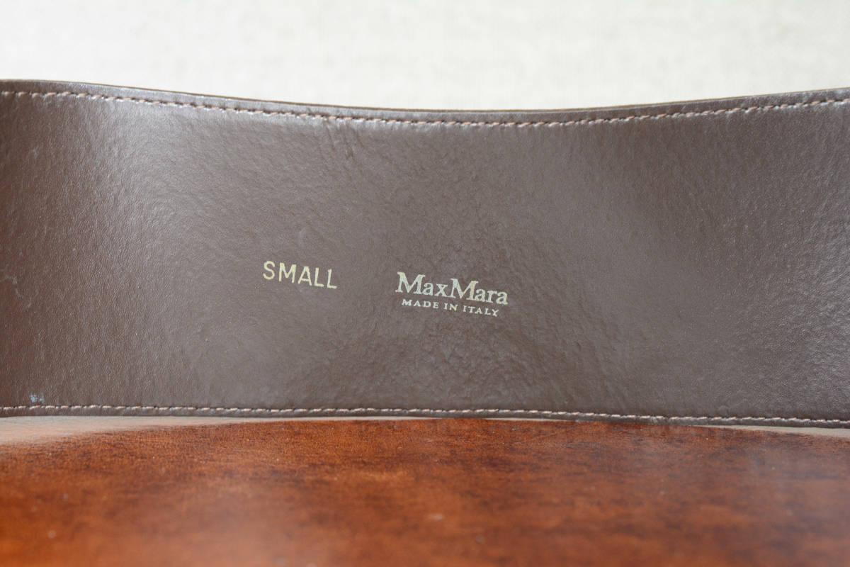 MAX MARA マックスマーラ ウッドバックル レザーベルト イタリア製 SMALL ダークブラウン_画像6