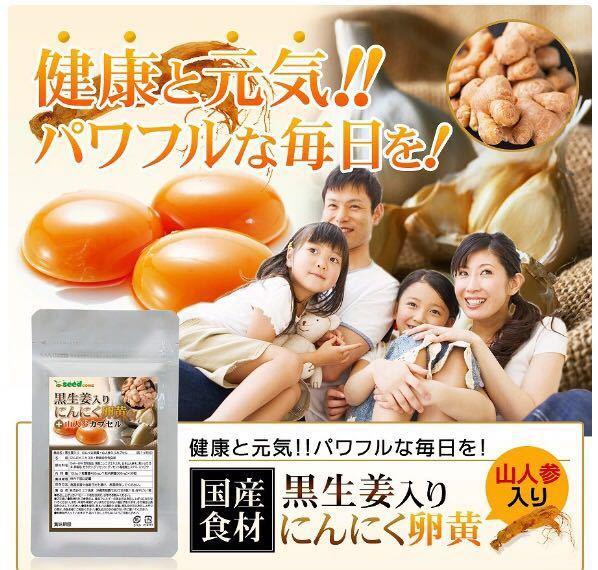 黒生姜入り にんにく卵黄+山人参カプセル 約1ヵ月分 健康 元気 国産_画像1