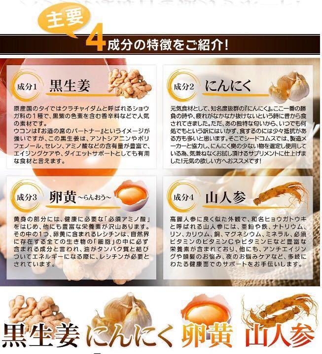 黒生姜入り にんにく卵黄+山人参カプセル 約1ヵ月分 健康 元気 国産_画像3