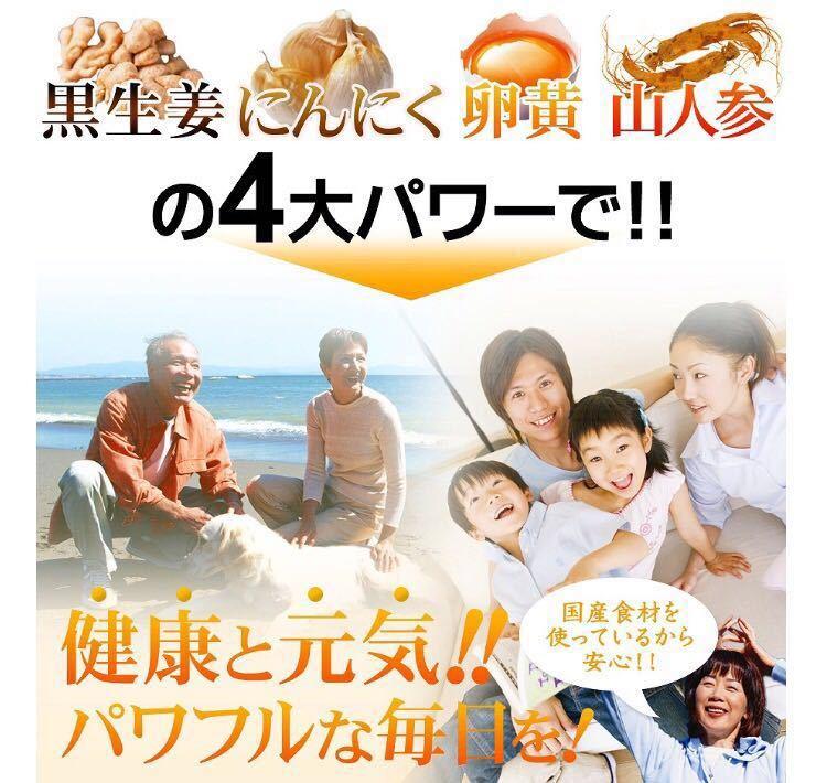 黒生姜入り にんにく卵黄+山人参カプセル 約1ヵ月分 健康 元気 国産_画像4