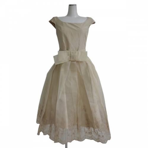 定価約50万 FOXEY フォクシー オーガンジー スカート 付き シルク ワンピース ドレス R2-202357 ☆
