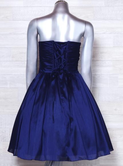 ベアトップドレス ジュネビビアン パーティードレス 編み上げ ひざ丈 カラードレス 日本製 _画像3