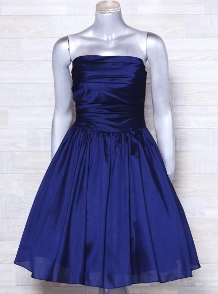 ベアトップドレス ジュネビビアン パーティードレス 編み上げ ひざ丈 カラードレス 日本製 _画像2