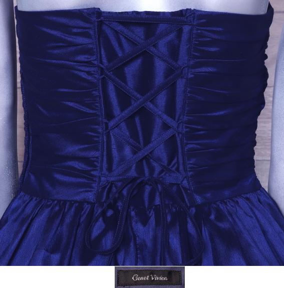 ベアトップドレス ジュネビビアン パーティードレス 編み上げ ひざ丈 カラードレス 日本製 _画像5