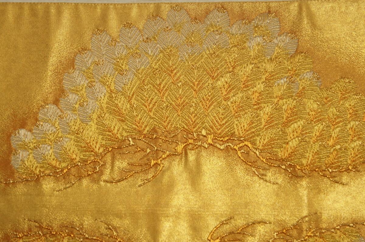 特撰『紫紘』手織り金箔地老松模様袋帯[O10797]_特撰『紫紘』手織り金箔地老松模様袋帯