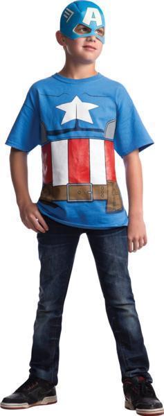 MARVEL (マーベル) アベンジャーズ キャプテンアメリカ Tシャツ・ハーフマスク コスチューム 子供用 M (8~10歳)_画像1